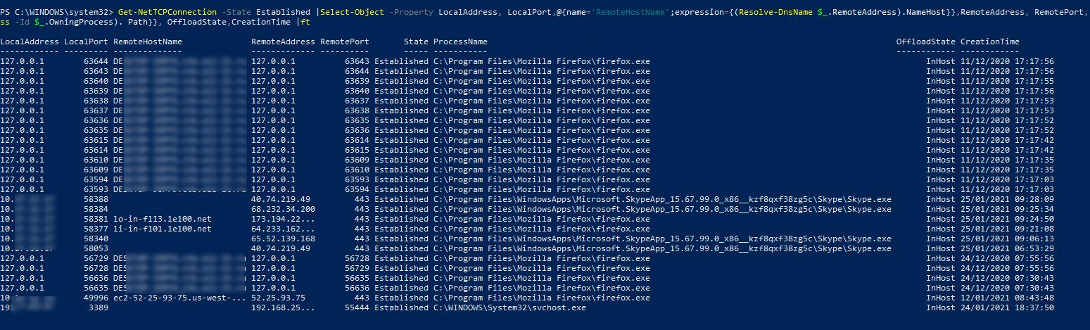 список активных сетевых подключений и процессов в Windows 10 с помощью powershell