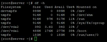 df - определить свободное место на диске в linux