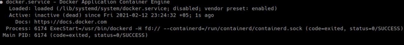 docker.service inactive (dead) code=exited