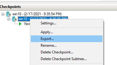 експортувати зображення VM у гіпер-v