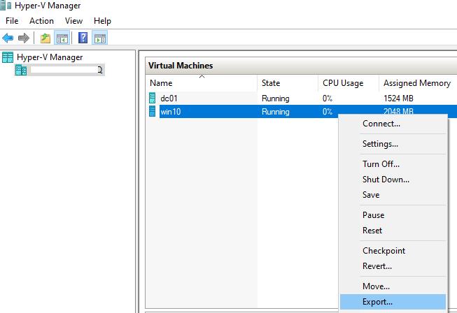експорт віртуальної машини через hyper-v manager
