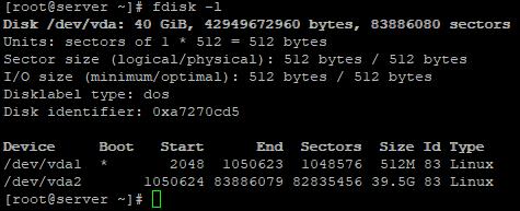 fdisk получить размеры дисков и разделов