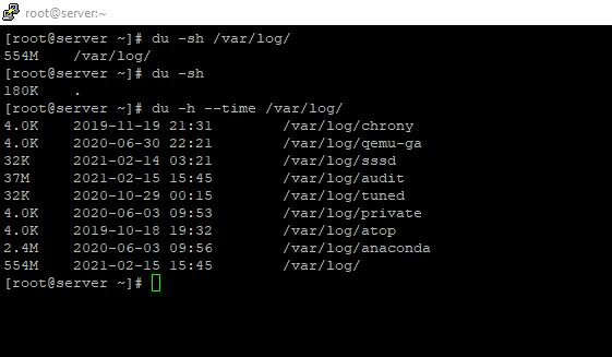 используем команду Linux du для получения размера каталогов