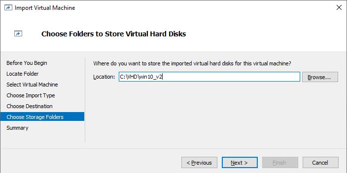 каталогу для vhdx файлів ВМ hyper-v