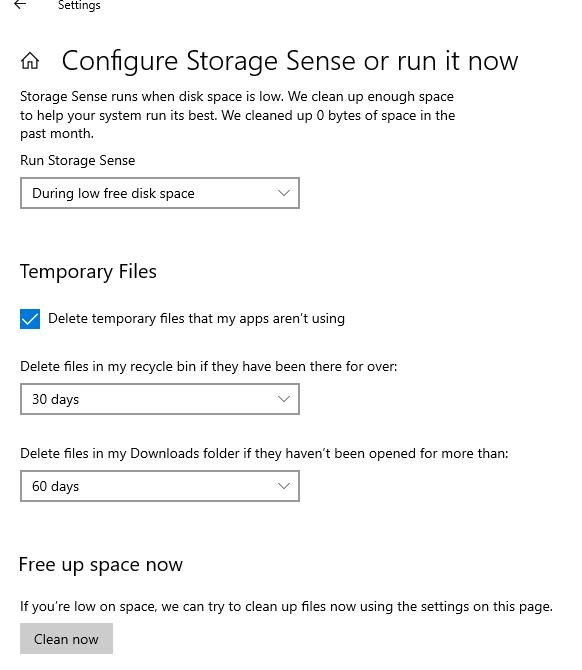 параметры автоматической очистки диска в windows 10