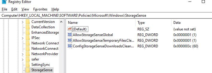 параметры storage sense в реестре windows 10