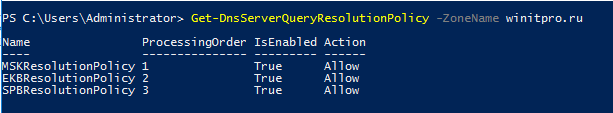 політики DNS на сервері Windows Get-DnsServerQueryResolutionPolicy