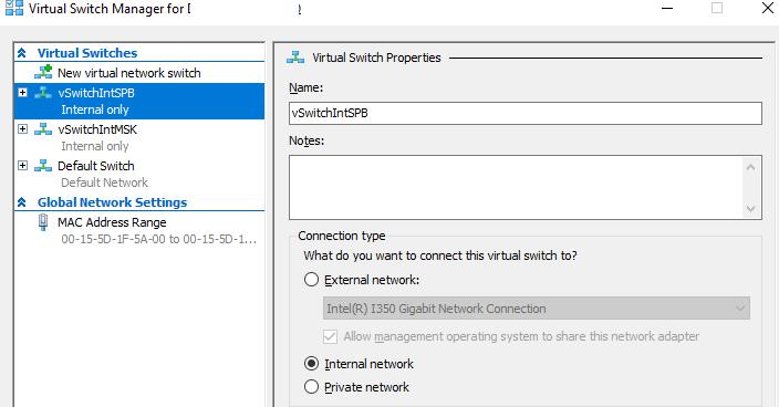 створити окремі hyper-v virtual switches для різних підмереж