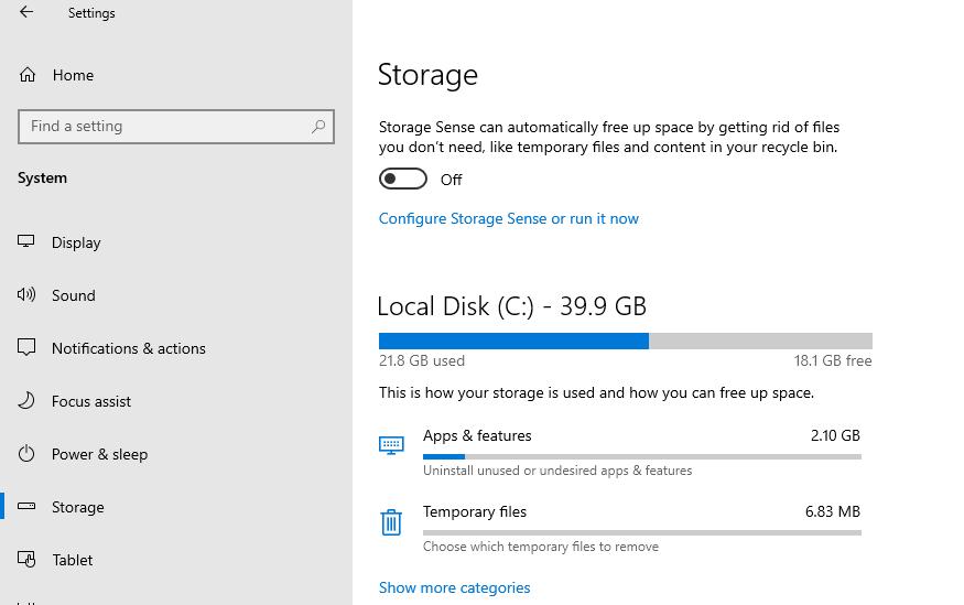 включить storage sense контроль памяти в windows 10