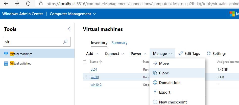 Windows Admin Center клонувати віртулаьную машину