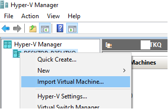 запустити Import Virtual Machine в консолі hyper-v
