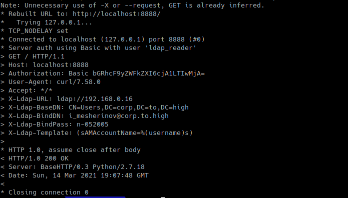 curl з header X-Ldap-BindDN, перевірка аутентфікаціі в Active Directory