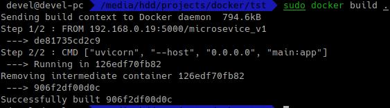 docker build . сборка образа