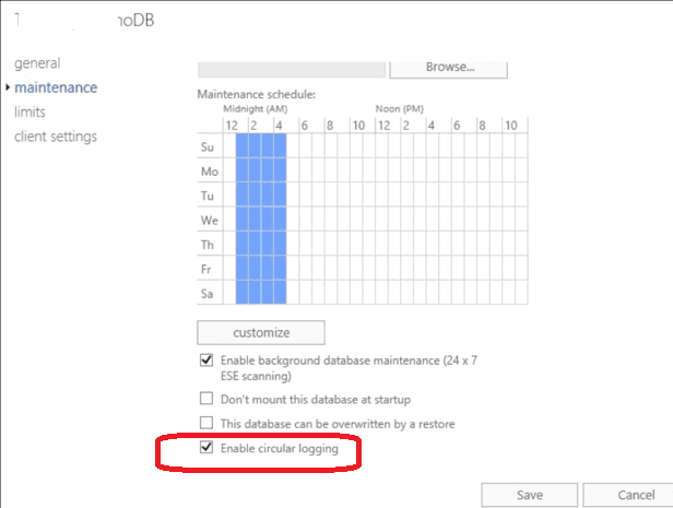 exchange включити Circular logging для автоматичного очищення трназакціонних логів