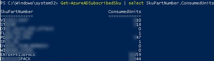 Get-AzureADSubscribedSku - доступні ліцензії azure