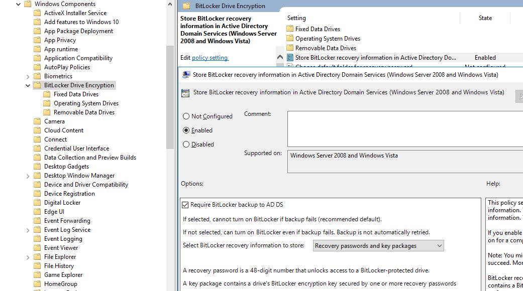 GPO, роздільна зберігати ключі відновлення bitlocker в Active Directory Domain Services