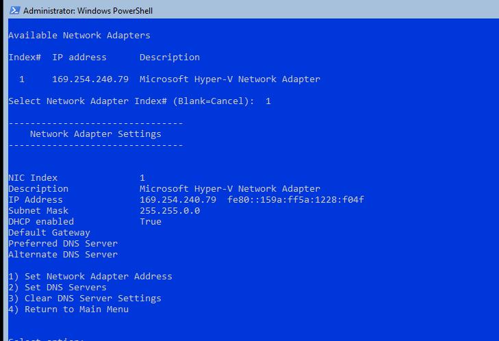 настройка базовых параметров server core из sconfig