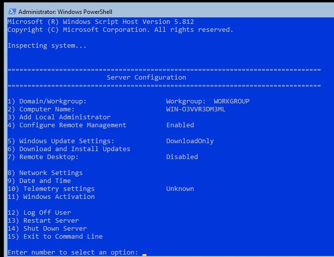 настройка windows server core с помощью утилиты sconfig