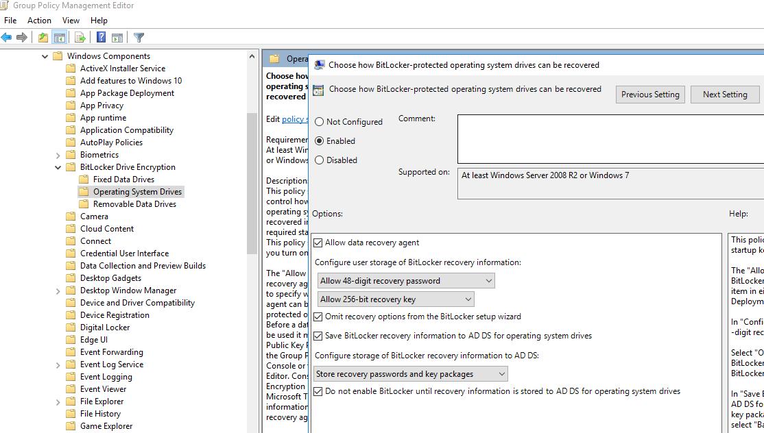 політика для автоматичного збереження ключа шифрування bitlocker в ad