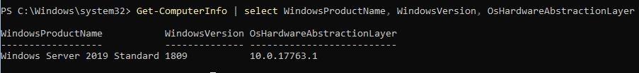 powershell дізнатися версію windows server