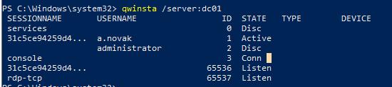 qwinsta - список сесій користувачів на комп'ютері