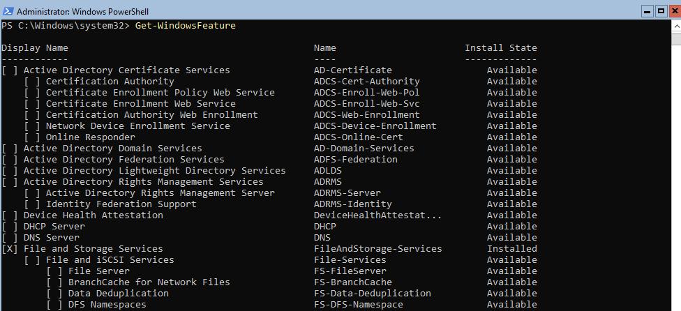 список всех ролей в windows server core Get-WindowsFeature