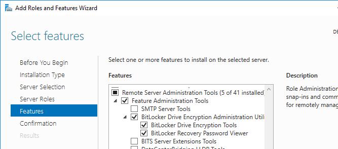 установка Служба адміністрування шифрування диска BitLocker в Windows Server