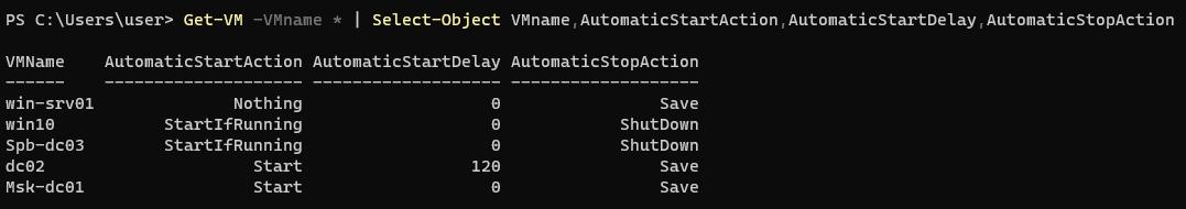 вивести налаштування запуску, виключення ВМ на хості Hyper-V через powershell (AutomaticStartAction, AutomaticStartDelay, AutomaticStopAction)
