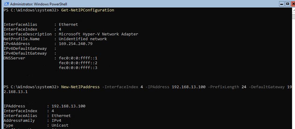 задать ip адрес в windows server core с помощью powershell