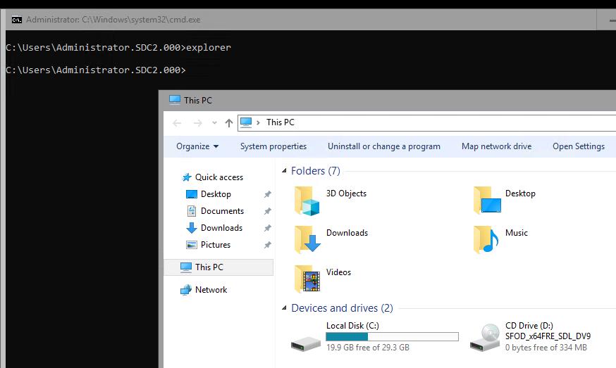 запуск explorer.exe в windows server core за допомогою Server Core App Compatibility Feature on Demand (FOD),