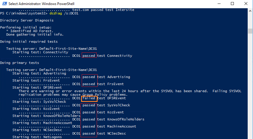 dcdiag перевірка стану контролера домену active directory