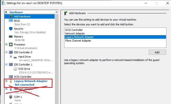 добавить legacy network adapter в виртуальной машине hyper-v