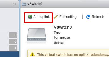 добавить uplink в vmware esxi