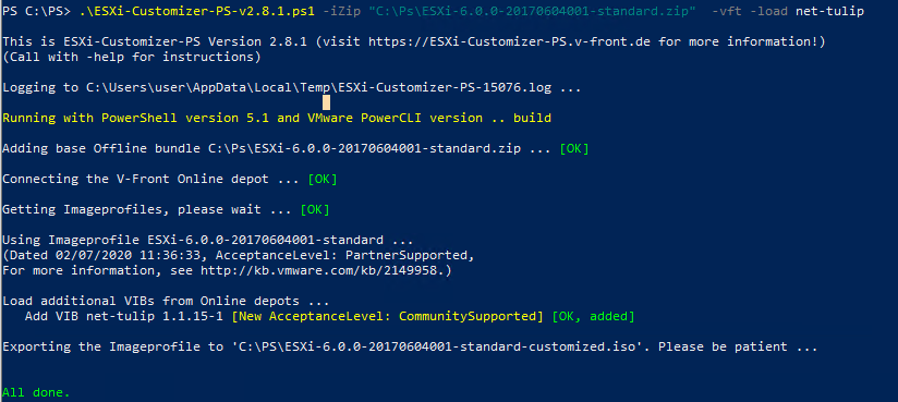 ESXi-Customizer-PS интеграция драйвера net-tulip для hyper-v в образ esxi