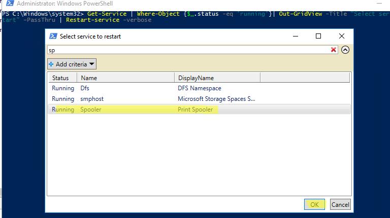 использование Out-GridView с параметром PassThru  для передачи выбранных объектов в конвейер  powershell