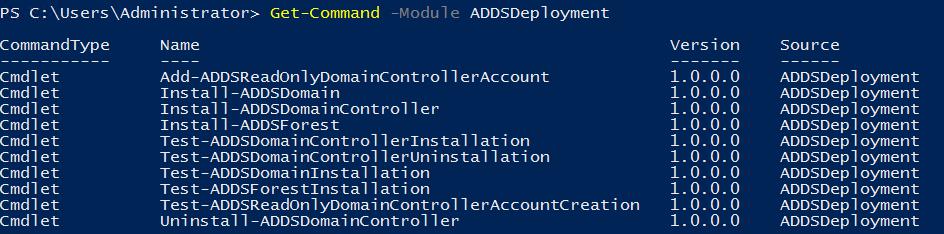команндлеты разворачивания контроллера домена из модуля ADDSDeployment