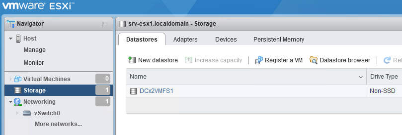 новое vmfs хранилище для размещеия файлов виртуальных машин esxi