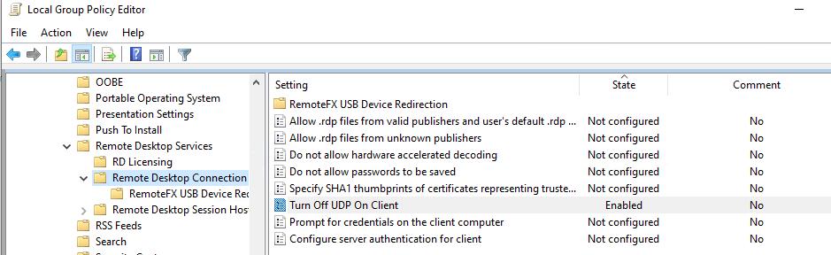 отключить использование UDP для RDP сессий