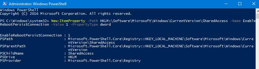 параметр реестра EnableRebootPersistConnection