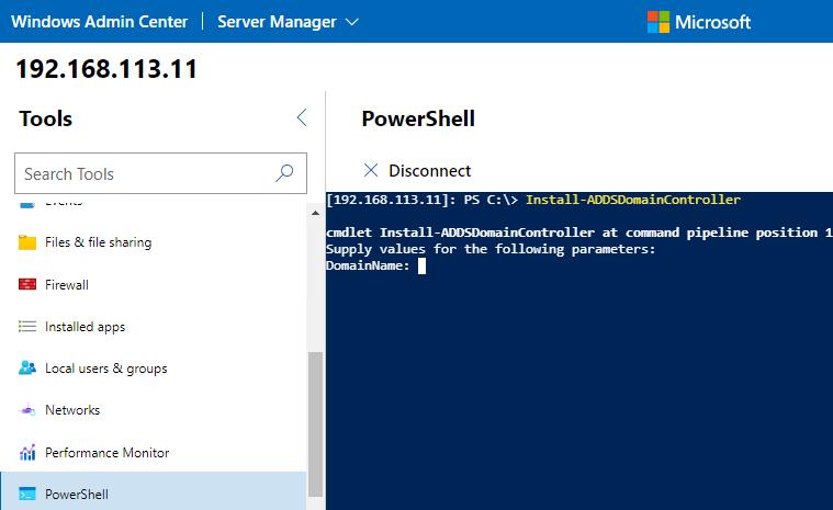powershell консоль в Windows Admin center