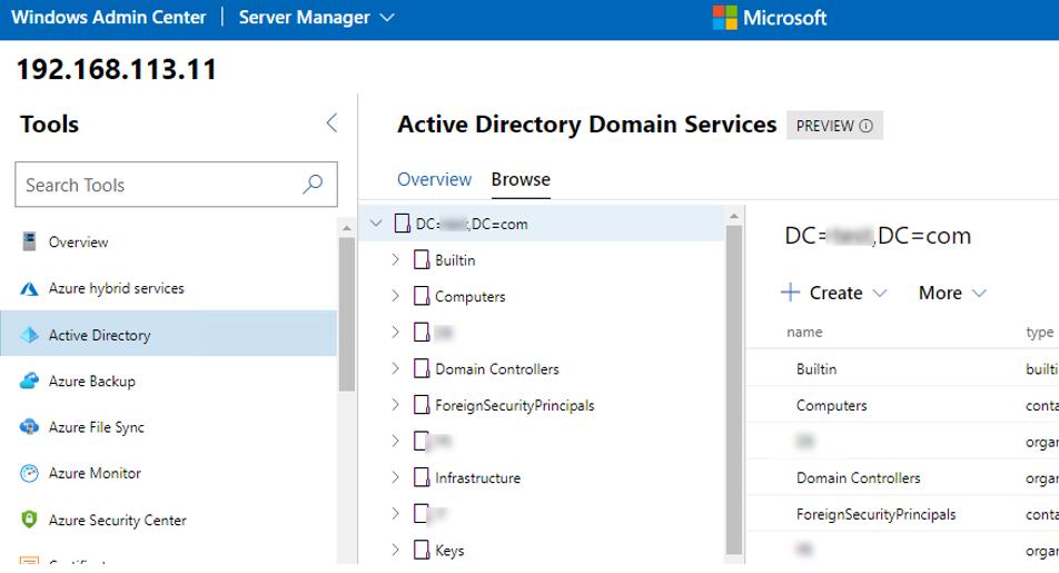 просмотр Active Directory через веб интерфейс Windows Admin Center