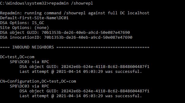 repadmin / showrepl перевірка останньої успішної реплікації між контролерами домену