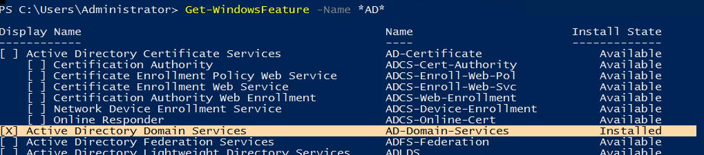 роль AD-Domain-Services установлена