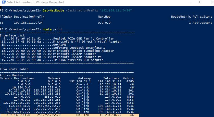 таблица маршрутизации при активном vpn в windows 10