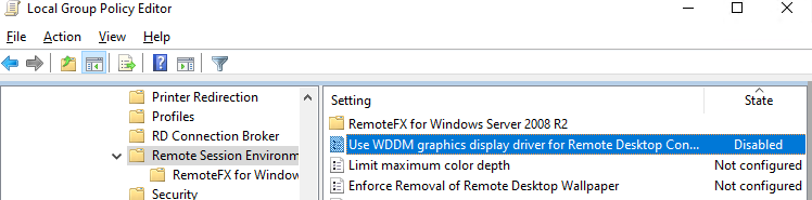 Use WDDM graphics display driver for Remote Desktop Connections