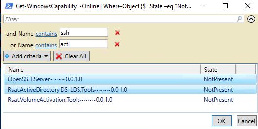 установить компоненты Windows через powershell