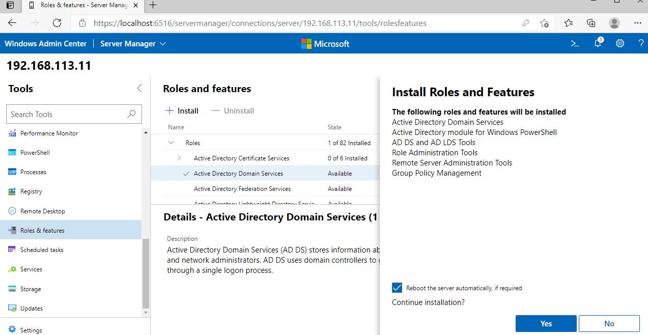 установка Active Directory Domain Services через Windows Admin Center
