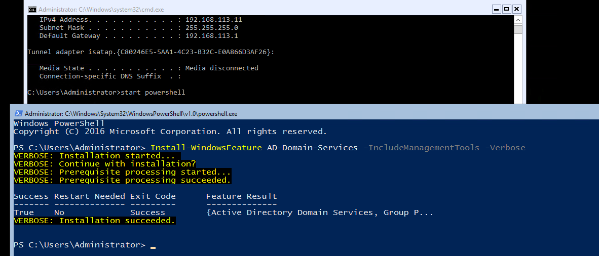 Установка роли Active Directory Domain Services (ADDS) в Windows Server COre 2016 с помощью PowerShell