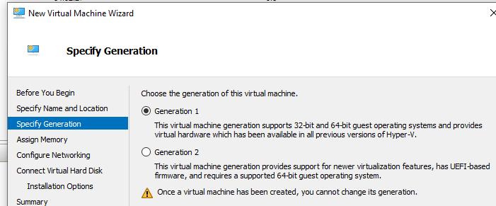 виртуальная машина hyper-v первого поколения