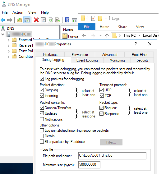 Включить DNS Debug Logging на контроллере домена Windows Server